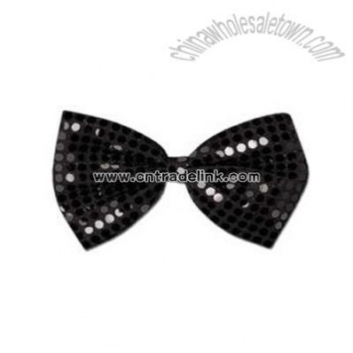 Glitz 'N Gleam - Black bow tie with elastics attached