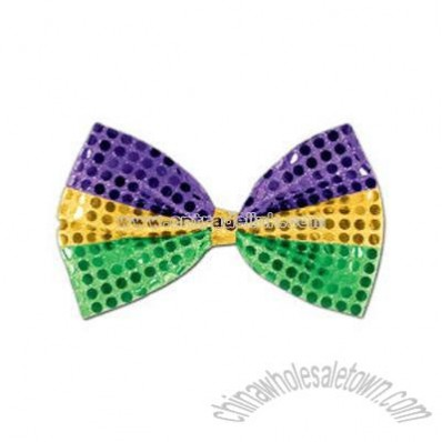 Glitz 'N Gleam - Gold, green, and purple bow tie with elastics attached.