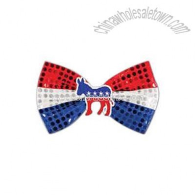 Glitz 'N Gleam - Patriotic bow tie with icon attached.