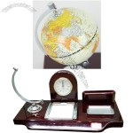 Globe Desk Calendar with Clock and Name Card Memo Holder