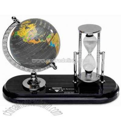 Globe and sand timer desk set