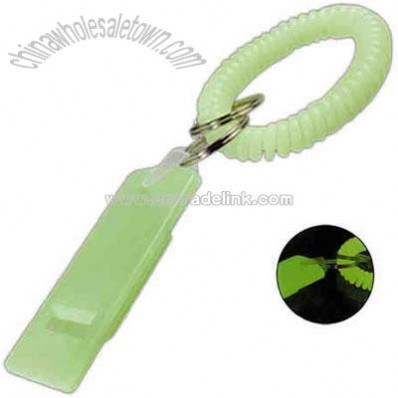 Glow in the dark spiral wrist coil with flat whistles