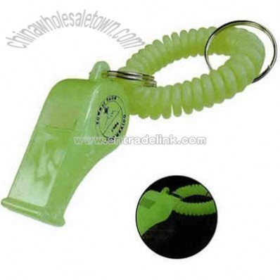 Glow in the dark wrist coil with whistle
