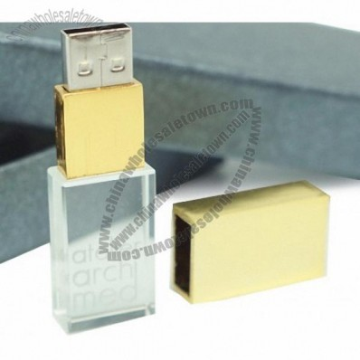 Gold Cap Crystal USB Memory Drive with LED Light