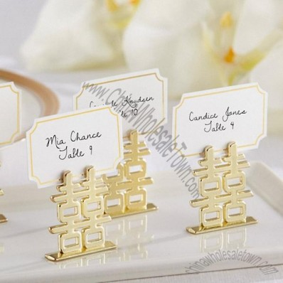 Gold Double Happiness Place Card Holder