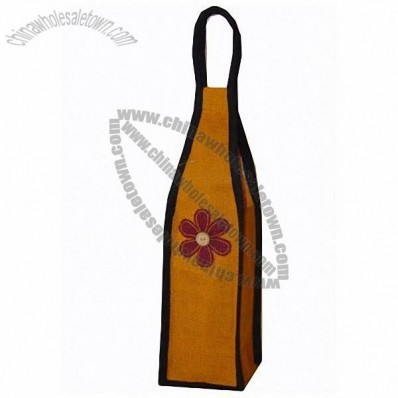 Gold Flower Jute Wine Bag - Single Bottle