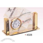 Gold Plated Business Card Holder/ Clock