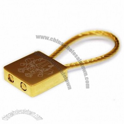 Gold Plated Cable Keychain