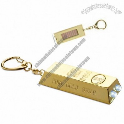 Gold Shape Solar Torch Keyring