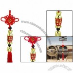 Gold Tone Plastic Vase Shape Decor Red Tassel Chinese Knot Hanging Ornament