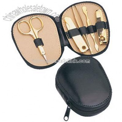 Gold plated solid brass manicure set