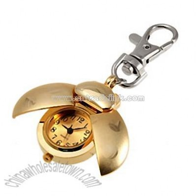 Golden Ladybug Fashion Quartz Key Chain Watch