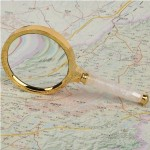 Golden Metal Magnifier with Wooden Handle