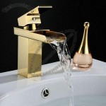 Golden Waterfall Total Brass Bathroom Basin Mixer Faucet Tap