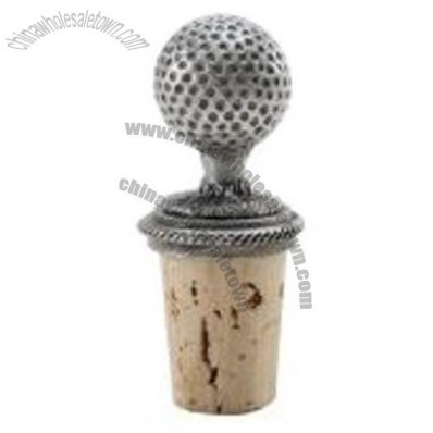 Golf Ball Pewter Wine Bottle Stopper