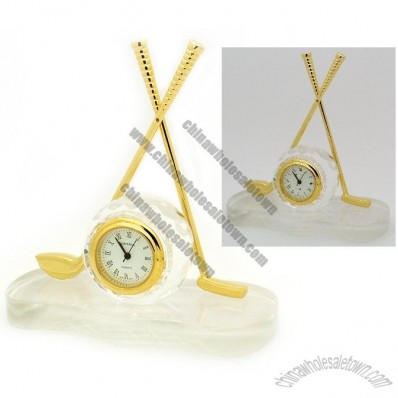 Golf Ball and Clubs Crystal Clock