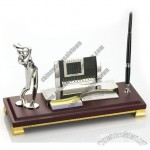 Golf Man Desktop Gift Set with Pen Stnad Memo Card Holder and Perpetual Calendar