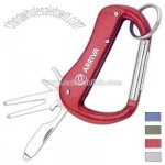 Golf carabiner with divot repair tool