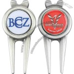 Golf divot tool with photo printed ball marker.