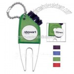 Golf tool that includes divot repair tool & ball marker