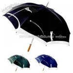 Golf umbrella with metal shaft and wooden handle