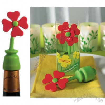 Good Luck in Full Bloom Silicone Bottle Stopper Gift Boxed Favor