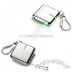 Green / Nickel Plated Tape Measure Key Chain w/ White LED