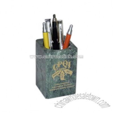Green Hualien marble pencil holder