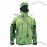 Green Men's Fishing Windbreaker with Underarms Ventilation System and Chin Guard