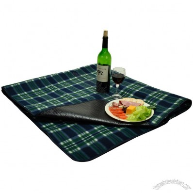 Green Plaid Fleece Blanket w/ Water Resistant Backing
