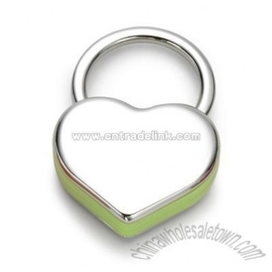 Green Plastic / Nickel Plated Heart Key Chain