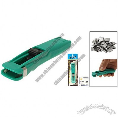 Green Plastic Alternative Clam Fast Clip Dispenser Stapler