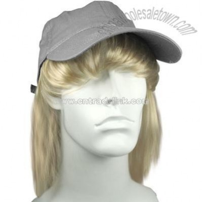Grey Ball Cap with Bangs and Hair