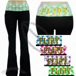 Grip Ladies Lycra/Cotton Solid Yoga Pants with Fold-Over Waistband & Flirt Sequins