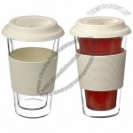 Grosche Glassen Hand Made Double Walled Insulated Glass Travel Mug, 350 ml