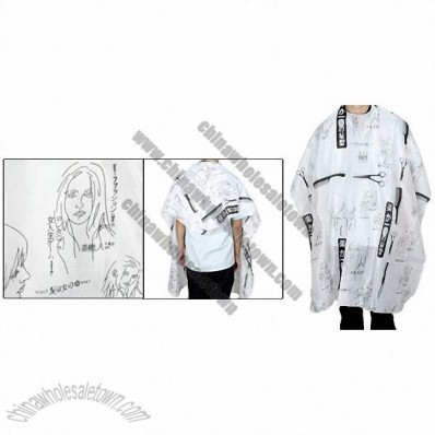 Hairdressing Hair Cutting Salon Barber Cape Gown Cloth Black White