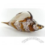 Hand Blown Tan White Glass Shell Art Statue Sculpture