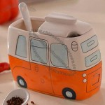 Hand Painted Bus Salt And Pepper Shaker