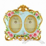Hand Painted Rose Shaped Polyresin Photo Frame