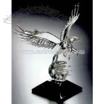 Hand blown crystal eagle