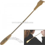 Hand held bamboo back scratcher