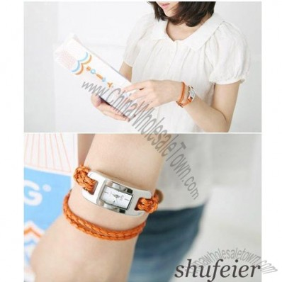 Hand-knitted Leather Cord Watch Band for Lady