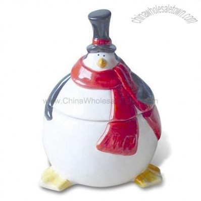 Hand-painted Ceramic Cookie Jar - Penguin