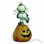 Hand-painted Polyresin Craft with Pumpkin LED Light for Halloween Fashion Decorations