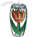 Hand-painted votive with tulips