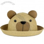 Hand-woven Summer Beach Cartoon Straw Sun Hat - Little Bear