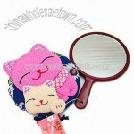 Handle Mirror with Belt and Lovely Cats