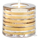 Handpainted wide votive with gold stripes