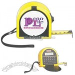 Handy 25'/7.5m measuring tape with solar calculator and memo space