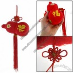 Hanging Ornament Flower Fish Print Plush Gourd Red Tassels Chinese Knot Decoration